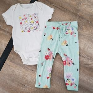 Old Navy Mint Floral Girls Two-Piece-Set